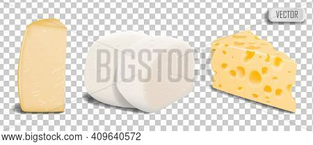 A Set Of Pieces Of Different Types Of Parmesan Cheese, Mozzarella And Swiss Cheese. Illustration Iso