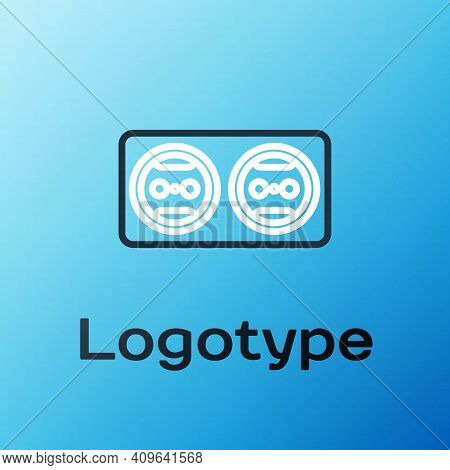 Line Electrical Outlet Icon Isolated On Blue Background. Power Socket. Rosette Symbol. Colorful Outl