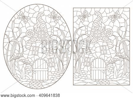 A Set Of Contour Illustrations With Dwarf Houses On A Background Of Mushrooms And Grass, Dark Outlin