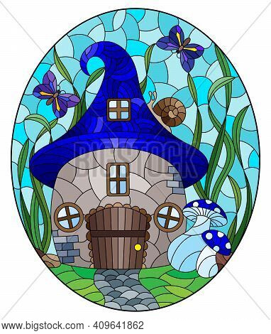 A Stained-glass Illustration With A Fairy-tale Dwarf House On A Background Of Grass And Blue Sky, Ov