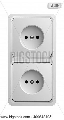 White Power Socket On Wall With Shadow, 3d Realistic Vector Illustration, Isolated On White Backgrou
