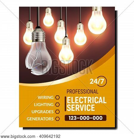 Electrical Service Maintenance Promo Banner Vector. Wiring And Lighting, Upgrades And Generators Ele