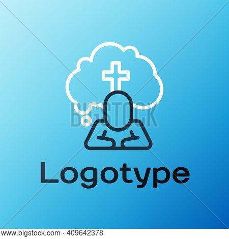 Line Man Graves Funeral Sorrow Icon Isolated On Blue Background. The Emotion Of Grief, Sadness, Sorr