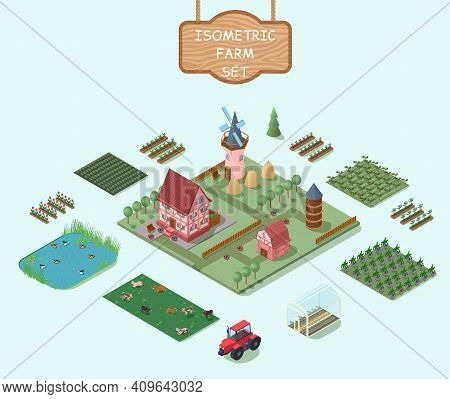 Isometric Farm Elements Set With House Windmill Barn Trees Fields Vegetables Flowers Animals Tractor