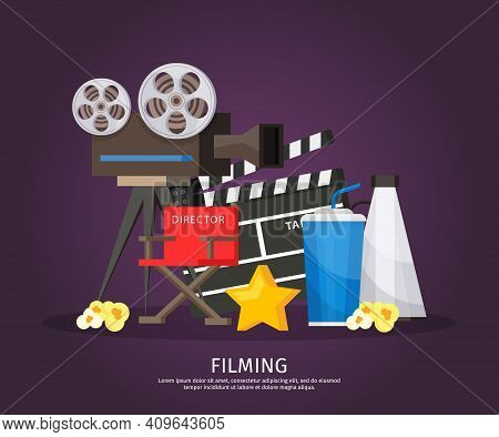 Colorful Cinematography Template With Camera Director Chair Megaphone Clapboard Soda Star And Popcor