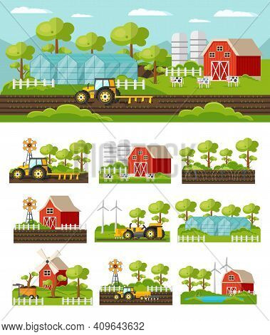 Colorful Farming Concept With Agricultural Equipment Vehicles Harvesting Barn Windmill Animals Green