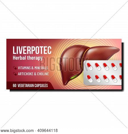 Liver Herbal Therapy Promo Poster Vector. Liver Vegetarian Capsules For Treatment Liver Advertising