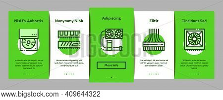 Computer Technology Onboarding Mobile App Page Screen Vector. Computer Mouse And Keyboard, Monitor A