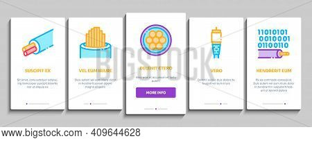 Optical Fiber Cable Onboarding Mobile App Page Screen Vector. Fiber Repair Instrument And Electrical