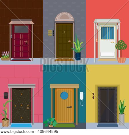 Flat Elegant Colorful Doors Set With Plants In Flowerpots And Different Types Of Doorbells Isolated