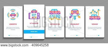 Smart Car Technology Onboarding Mobile App Page Screen Vector. Smart Car Autopilot And Help Parking,