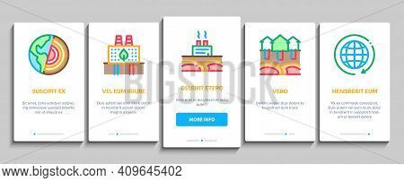 Geothermal Energy Onboarding Mobile App Page Screen Vector. Geothermal Electricity Factory And House
