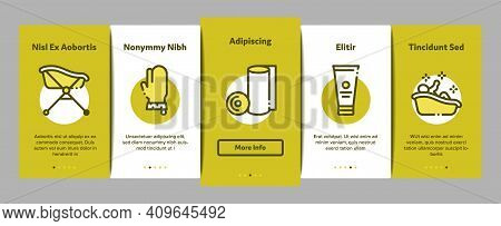 Bathing Baby Tool Onboarding Mobile App Page Screen Vector. Towel And Bathrobe, Bath Thermometer And