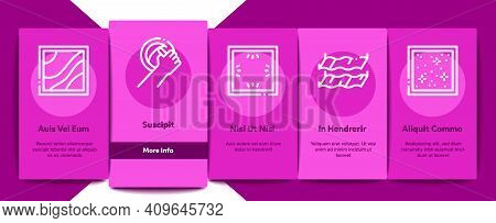 Stretch Ceiling Tile Onboarding Mobile App Page Screen Vector. Ceiling Material And Photo Layer, Las