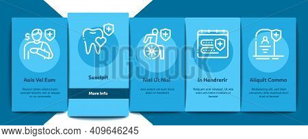 Health Insurance Care Onboarding Mobile App Page Screen Vector. Medical Insurance Agreement And Heal