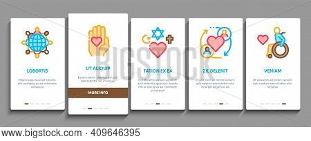 Tolerance And Equality Onboarding Mobile App Page Screen Vector. Tolerance For Different Religion An