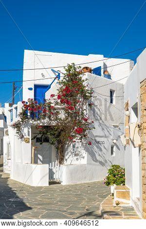 Folegandros, Greece - September 25, 2020: Whitewashed Cycladic Architecture In Beautiful Chora Town