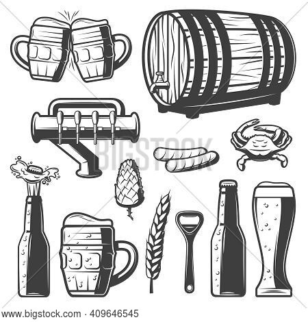 Vintage Beer Elements Collection With Clinking Mugs Bottle Glass Tap Wheat Hop Crab Opener Barrel Sa