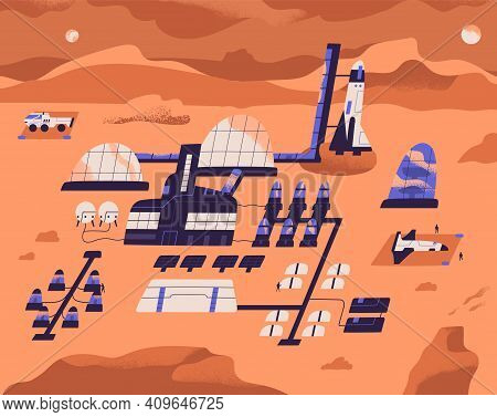 Mars Colonization. Base Or Colony On Red Planet With Buildings, Equipment For Scientific Research An
