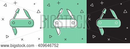 Set Swiss Army Knife Icon Isolated On White And Green, Black Background. Multi-tool, Multipurpose Pe