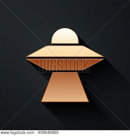 Gold Ufo Flying Spaceship Icon Isolated On Black Background. Flying Saucer. Alien Space Ship. Futuri