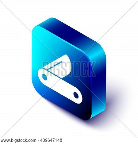 Isometric Swiss Army Knife Icon Isolated On White Background. Multi-tool, Multipurpose Penknife. Mul