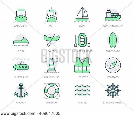 Water Transport Simple Line Icons. Vector Illustration With Minimal Icon - Cargo Ship, Yacht, Canoe,