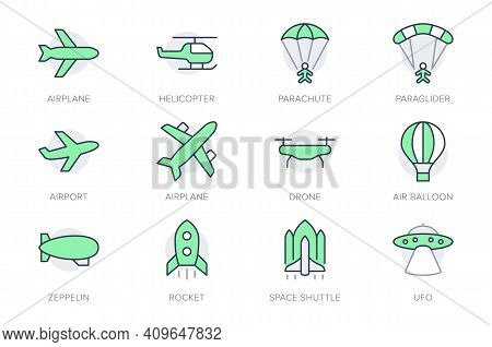 Air Transport Simple Line Icons. Vector Illustration With Minimal Icon - Airplane, Balloon, Ufo, Hel