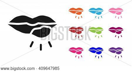 Black Herpes Lip Icon Isolated On White Background. Herpes Simplex Virus. Labial Infection Inflammat