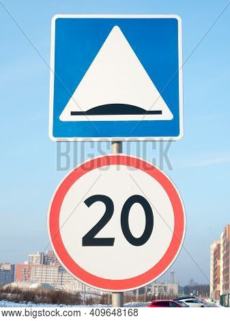 Road Sign 5.20 'artificial Roughness' And 3.24 'restriction Of The Maximum Speed' 20 Km.
