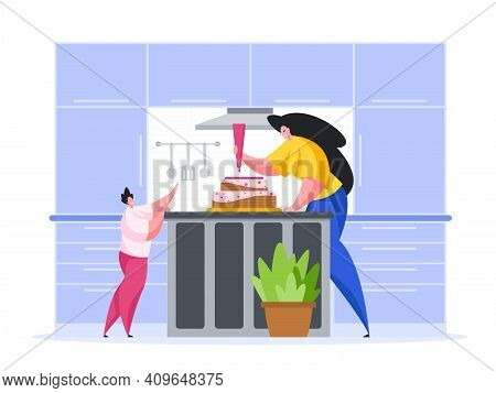 Woman With Child Make Birthday Cake In Kitchen Cartoon Illustration Vector. Female Character With Re