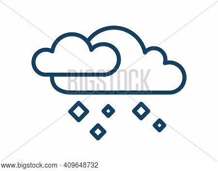 Simple Icon With Hailstones Falling From Clouds. Weather Logo Of Hail Or Icy Rain In Line Art Style.