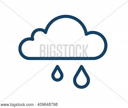 Simple Icon Of Wet And Rainy Weather With Rain Drops Falling From Cloud. Raincloud Logo With Two Rai