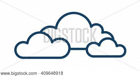 Cloudy And Overcast Weather Icon With Group Of Clouds In Line Art Style. Abstract Simple Linear Logo