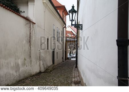 Prague, Czech - April 24, 2012: This Is One Of The Small Old Lanes In The Hradcany District.