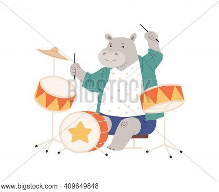 Cute Hippo Playing On Drums. Happy Animal Musician Performing Music On Drumkit. Funny Hippopotamus S