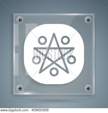 White Pentagram In A Circle Icon Isolated On Grey Background. Magic Occult Star Symbol. Square Glass