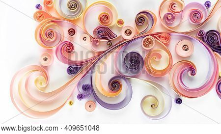 Abstract Background With Curled Colored Paper In Quilling Technique. Paper Filigree Floral Pattern.