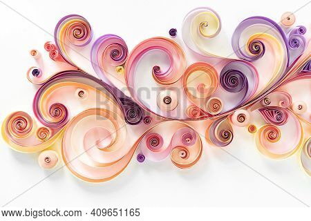 Quilling Paper Background. Colored Strips Of Paper Are Rolled And Curled For An Abstract Floral Arra