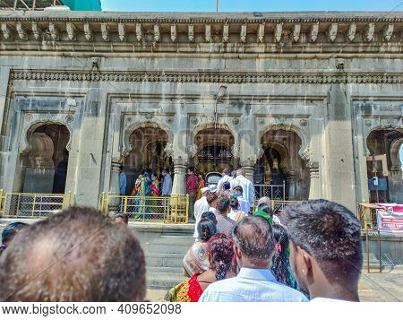 Kalburgi , Karnataka , India- February 15th 2021; Devotees Are Waiting In The Queue For Visiting The