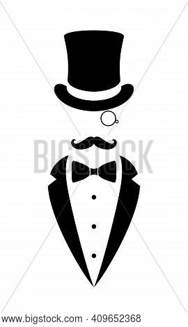 Gentleman Graphic Icon. Top Hat, Tuxedo, Bow Tie, Monocle And Mustaches Sign Isolated On White Backg