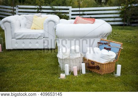 Wedding Lounge Zone With Armchairs, Candles And Blankets