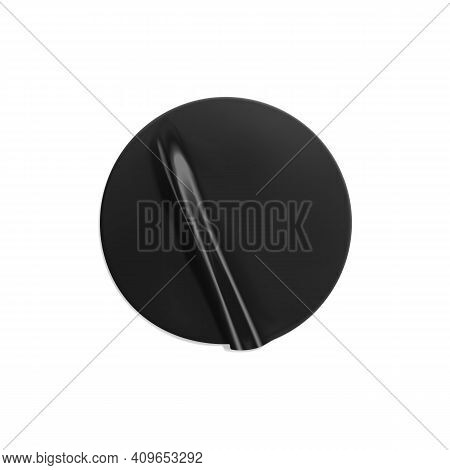Black Glued Round Crumpled Sticker Mockup. Adhesive Clear Black Paper Or Plastic Sticker Label With