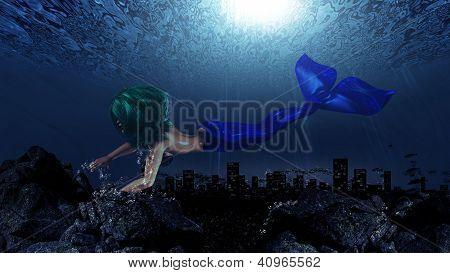 Illustration of beautiful mermaid in underwater world background. poster