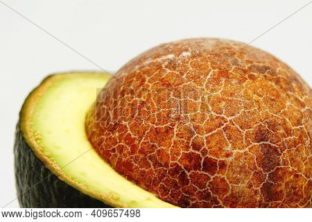 Closeup Avocado Isolated On White Background Nature Food