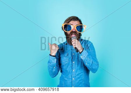 Making Your Party Funny. Brutal Caucasian Hipster Event Manager. Funny Party Glasses. Karaoke And Mu