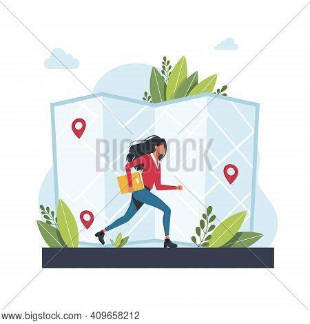 Woman Runs Towards Geolocation. Gps Navigation Service Application. Maps, Get Directions Metaphors.