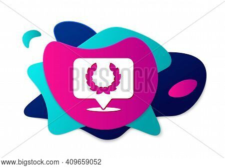Color Laurel Wreath Icon Isolated On White Background. Triumph Symbol. Abstract Banner With Liquid S