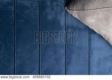 Close Up Velvet Sofa Texture, Velvet Couch Background With Gray Cushion-top View Point