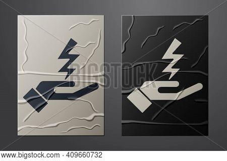 White Zeus Icon Isolated On Crumpled Paper Background. Greek God. God Of Lightning. Paper Art Style.